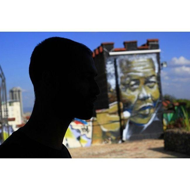 Wisetwo silhouette. Nelsonmandela  Streetart Graffiti @pawa254 @bankslave @authenticcheese