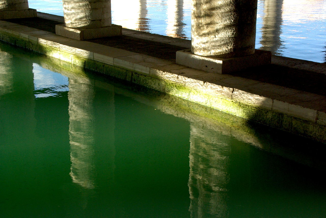 Architecture Canal Fish Close-up Day Green Color Green Water Green Water Blue Sky Indoors  Nature No People Reflection Reflection Reflection_collection Reflections Sky Sunlight Water Water Reflections Water_collection Waterfront