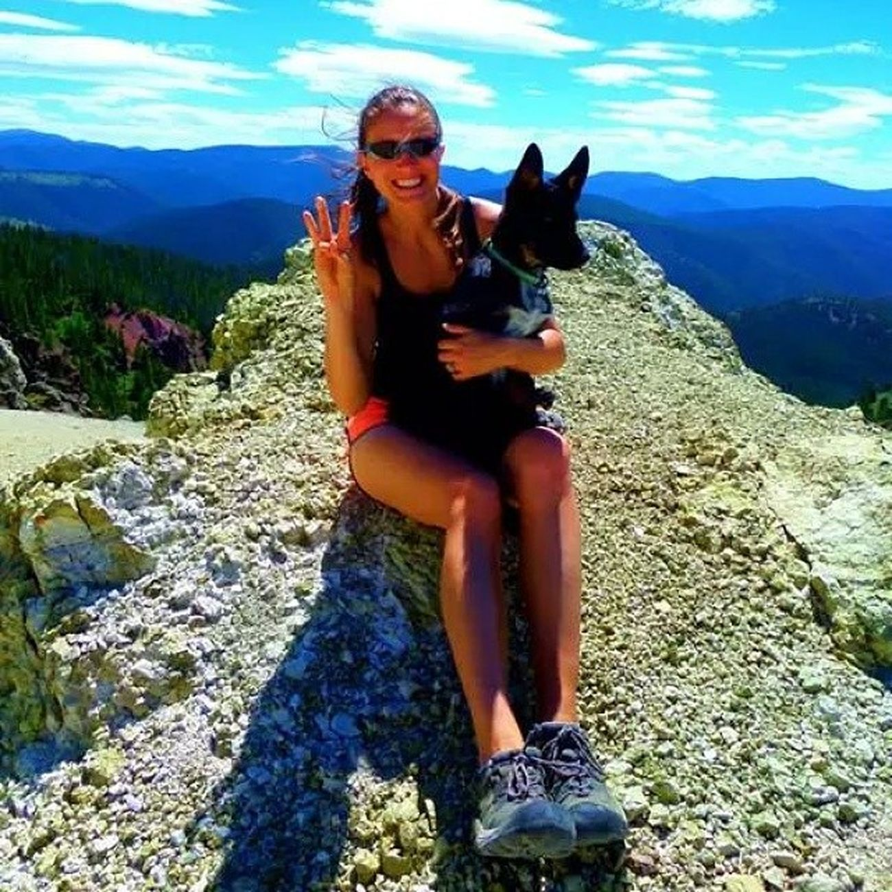 Sky and Gus; he turned 3 months old today! Besthikingdog Bestdayever Girlsdayout Hiking Montana