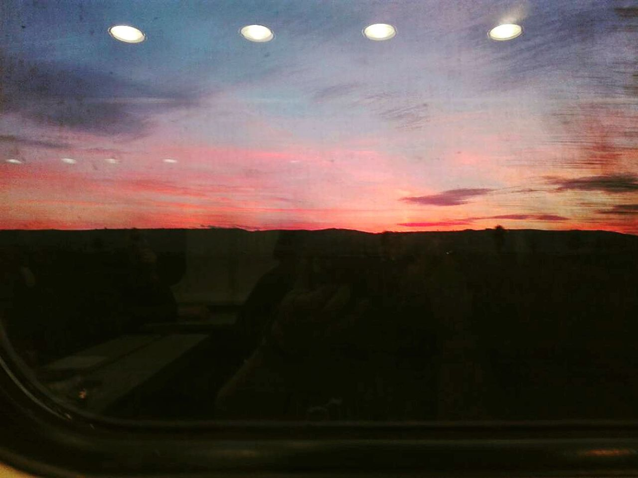 Cloud - Sky Twilightscapes Twilight Sky Twilight Scene Red Sky No People Night Sky Reflection In The Window Train Window