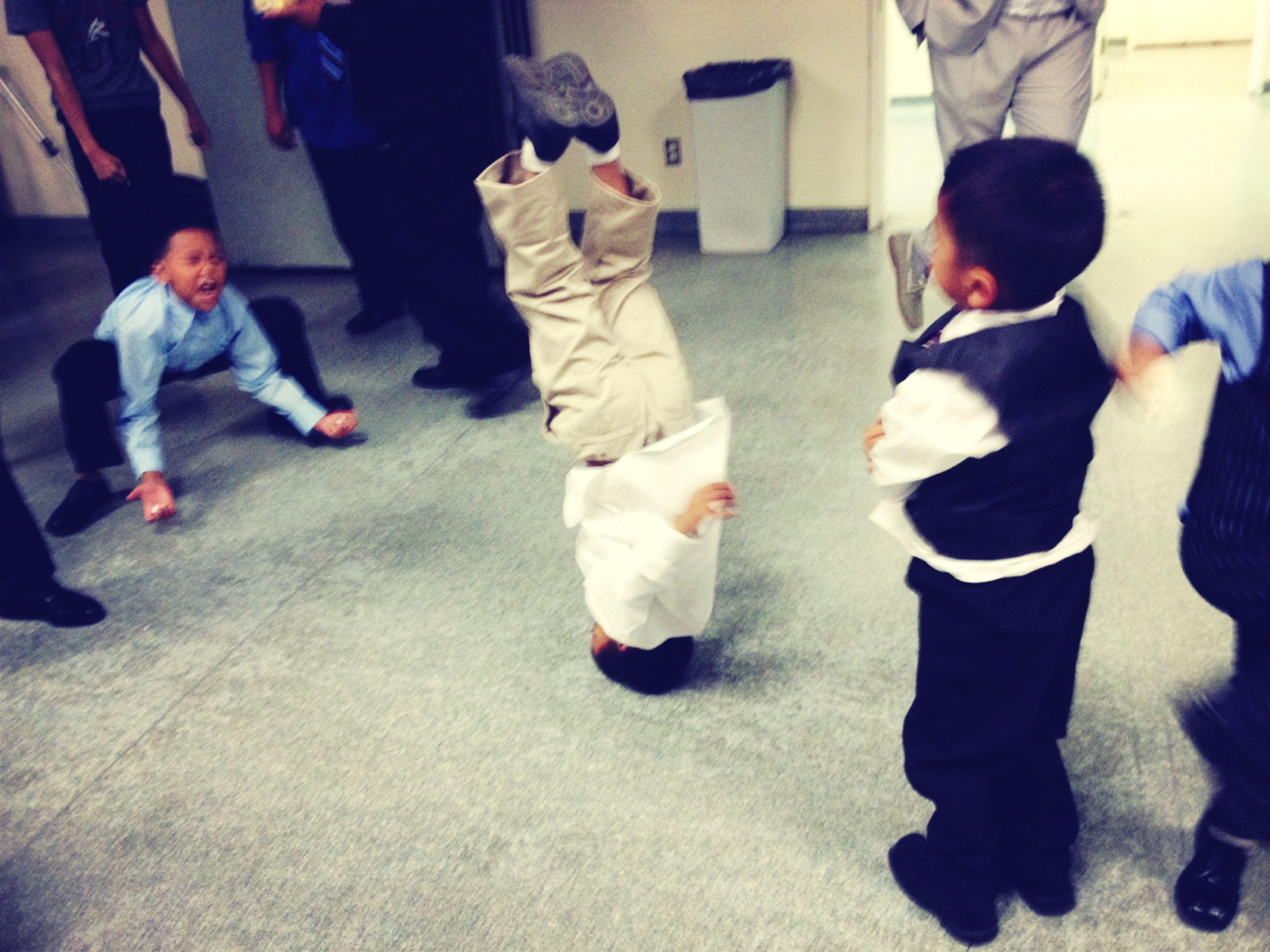 Lil Nephews going dumb at my cousin's wedding reception. #breakdancing