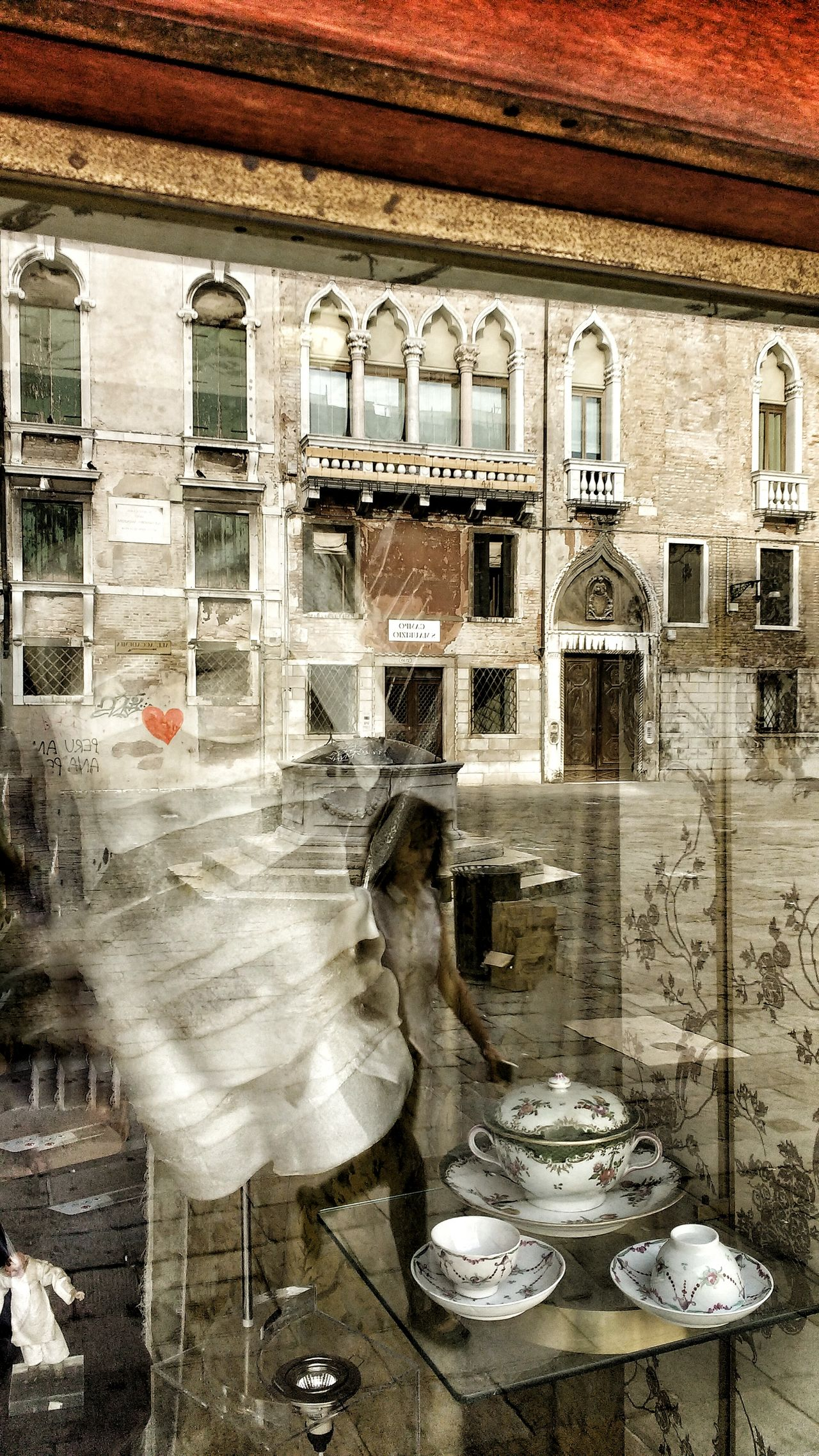 Architectural Column Architecture Bad Condition Body Part Building Built Structure Day Deterioration Dirty Empty No People Old Run-down Shop Window Shop Window Reflection Shop Windows Statue Venice, Italy Wood - Material