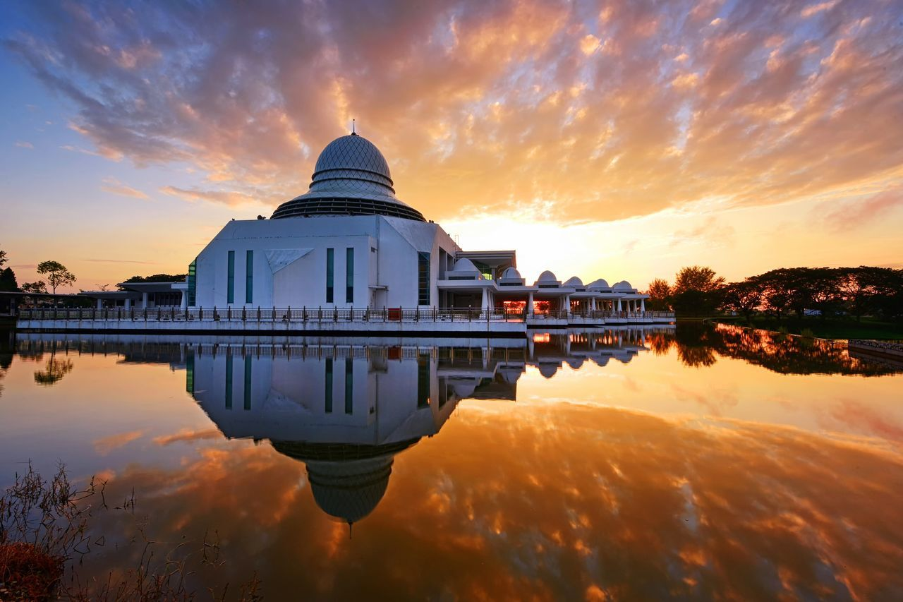 The Architect - 2017 EyeEm Awards Mosque Building Architecture Sunset Sunrise Religion Muslim Travel Travel Destinations Reflection Scenics Outdoors Beauty In Nature Landscape Background Sky Tourism Building Exterior EyeEmBestPics Eyeem Market Getty Images EyeEm Gallery Summer Malaysia