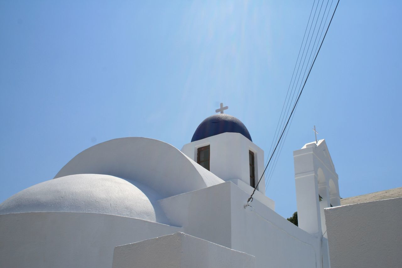 Churches of Santorini 🇬🇷 04 Architecture Built Structure Sunlight Low Angle View Building Exterior Clear Sky Dome No People Day Whitewashed Outdoors Nature Cultures Canon400d Canonphotography Vacations Santorini, Greece