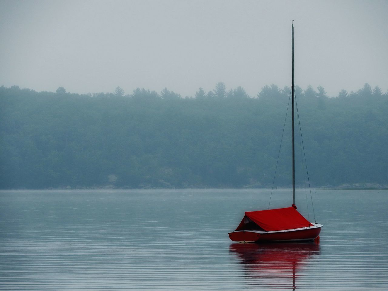 nautical vessel, water, lake, boat, tranquility, nature, outdoors, fog, no people, tranquil scene, tree, transportation, day, waterfront, moored, scenics, red, floating on water, beauty in nature, sky, oar