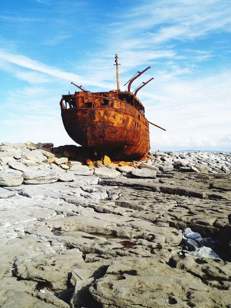 Transportation Sky Damaged Cloud - Sky Abandoned Rusty Deterioration Sand Nautical Vessel No People Run-down Mode Of Transport Outdoors Beach Day Nature Moored