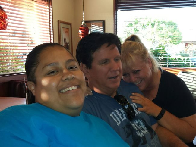 Laughing friends and family at dinner. Laughing Friends Family Dinner Denny's