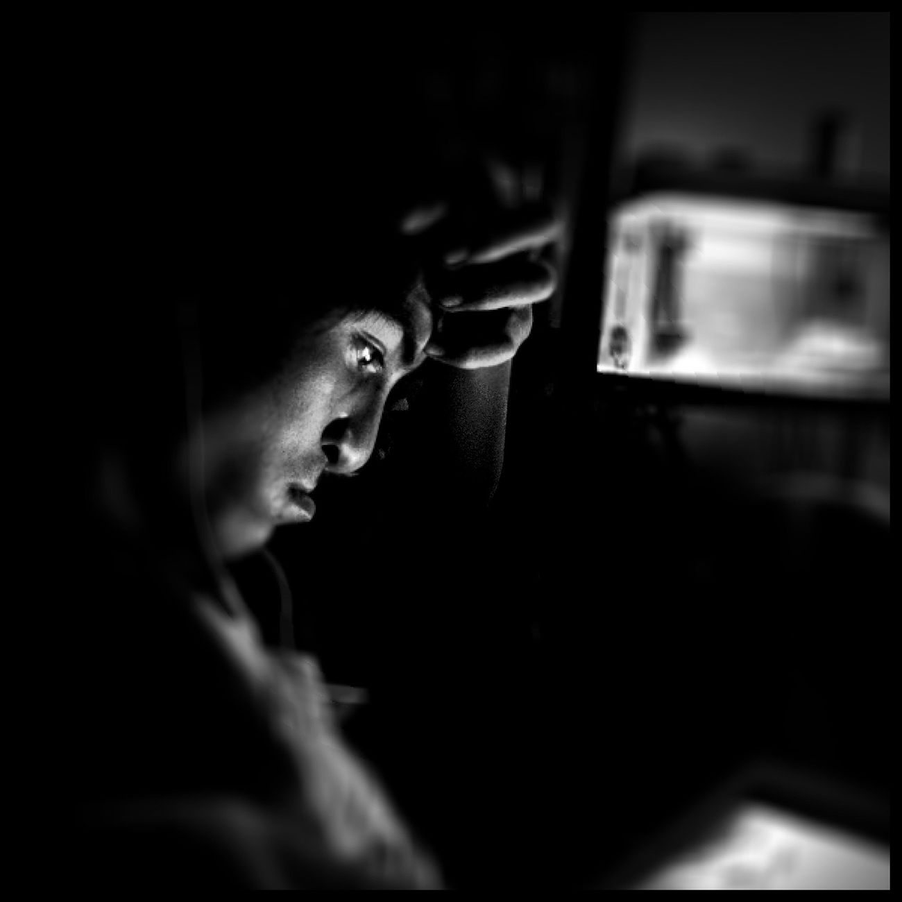 My nephew watching anime on my iPad. Black And White Portrait WeAreJuxt.com AMPt_community Mobilegraphics Adventure
