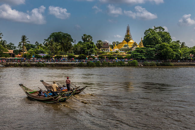 Syriem Yele Pagoda , Island Buddha place in Myanmar Ancient Architecture ASIA Boat Buddhism Burma Coast Culture Float Island Kyauktan Muddy Myanmar Pagoda Building Paya Place Religion River Sky Temple Thanlyin Travel Water Yangon Yele