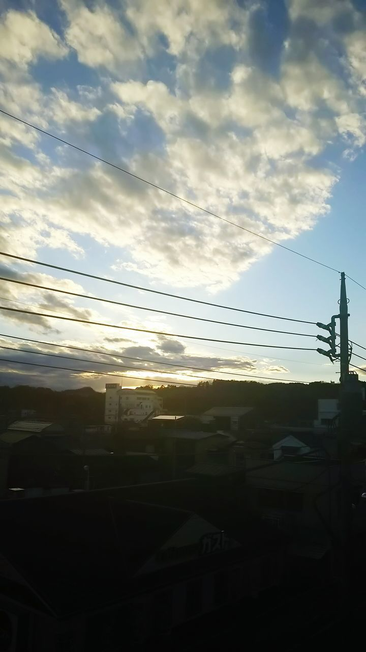 sky, cable, cloud - sky, power line, no people, connection, nature, electricity, outdoors, sunset, electricity pylon, day, beauty in nature