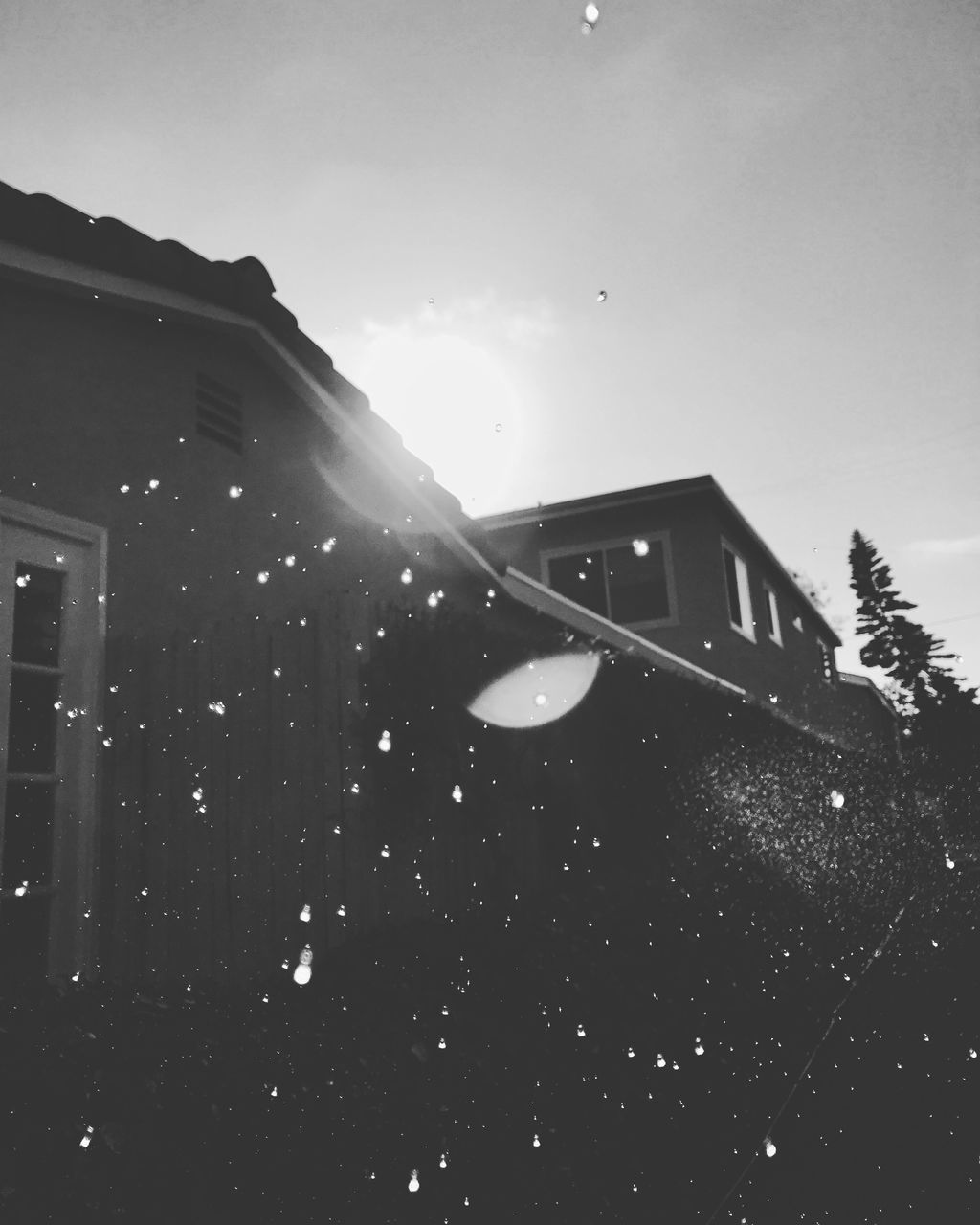 lens flare, low angle view, outdoors, no people, built structure, sun, nature, sky, day, architecture, building exterior, snow, tree