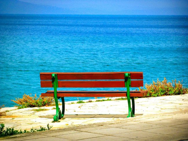 Q Quiet Places Quiet Peace And Quiet Bench Sea View Sea And Sky Seaside Seascape A Moment Of Zen... Tranquility Telling Stories Differently Amazing View Nature On Your Doorstep Shades Of Blue Endless Blue Wallpaper Summer Memories 🌄 Minimalism Minimalobsession Blue Wave Tranquil Scene Fine Art Outdoors Viewpoint