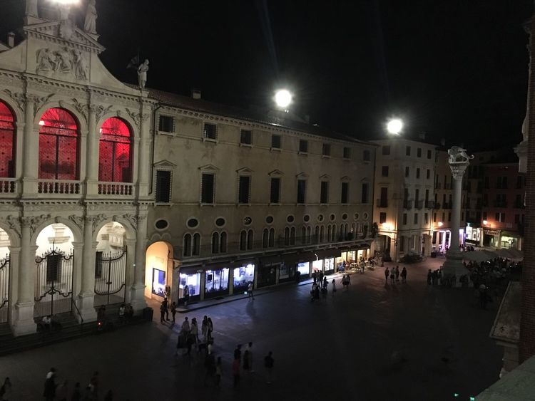 Vicenza Italy Veneto Illuminated Large Group Of People Architecture City Life Built Structure Walking Dark Person In Front Of