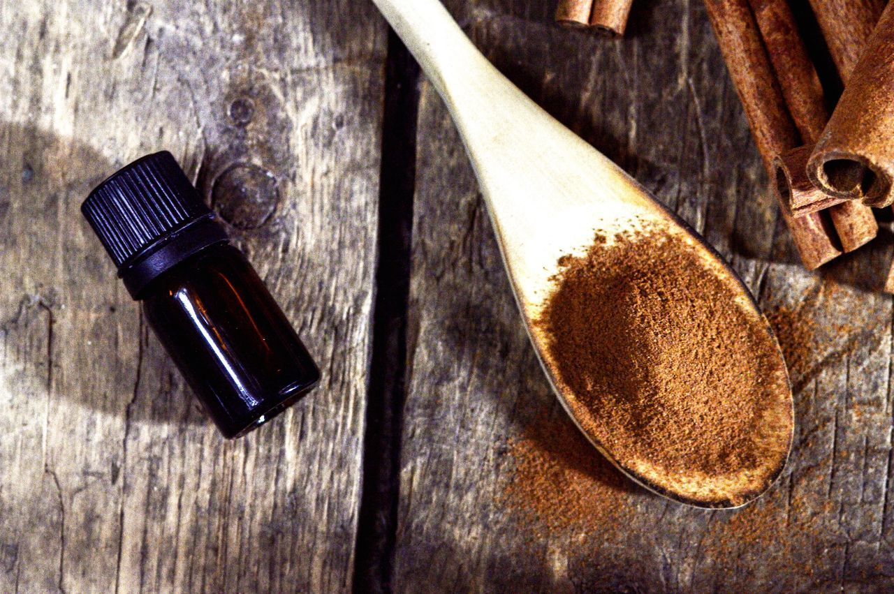 Cinnamon spice and cinnamon oil Wood - Material Table Cinnamon Oils Spices Ground Cinnamon Herbs And Spices Cinnamon Sticks Powder Wooden Spoon Wooden Background Wooden Spoons No People Food Close-up Herbs