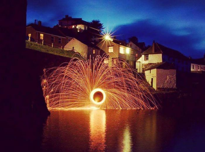 Lightpaintingphotography Long Exposure Illuminated Motion Wire Wool Sky Outdoors Night Coverack Harbour