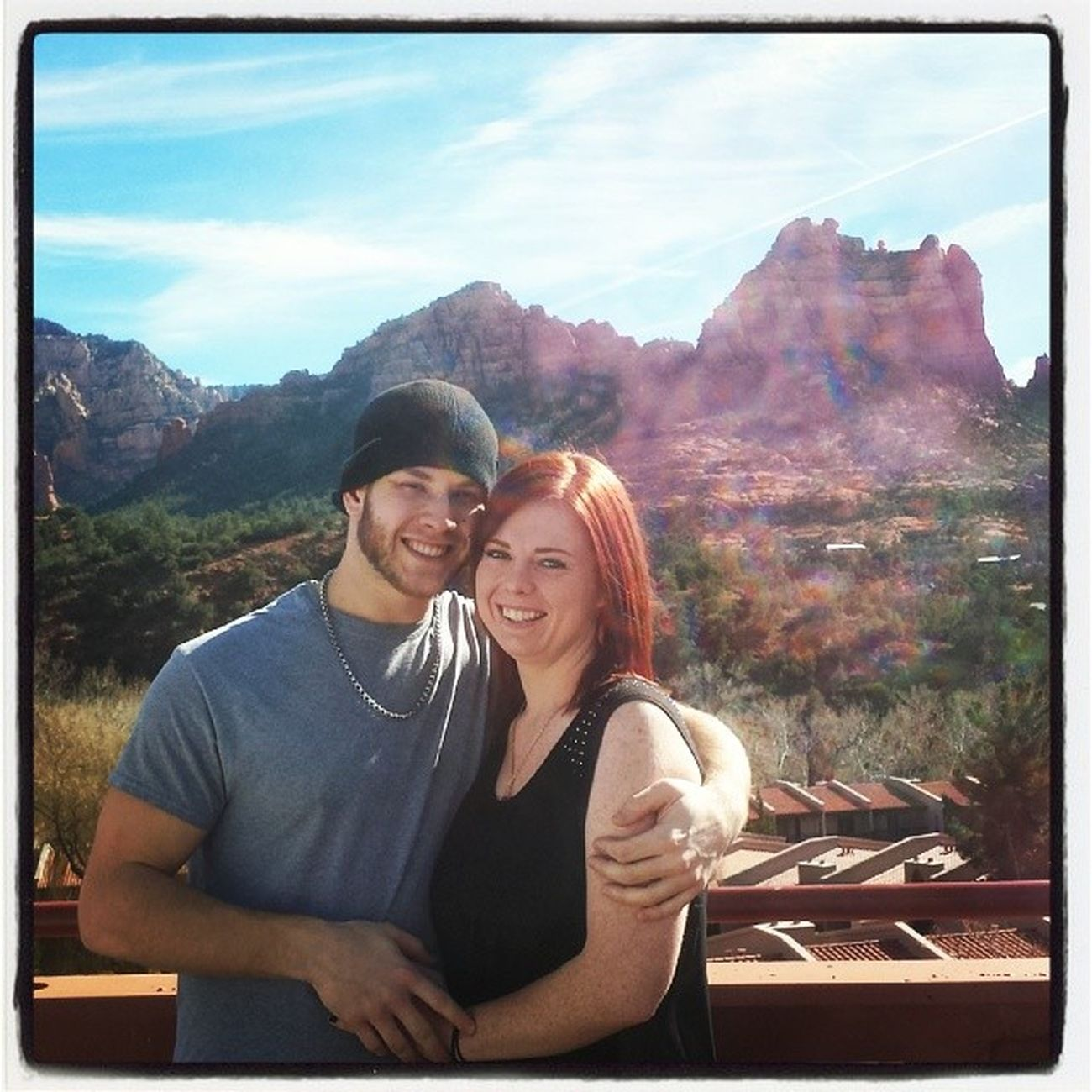 Elizabeth Fisheye Scott Couplesweekend sedona az arizona friends orbs mountains rainboworbs douseethem