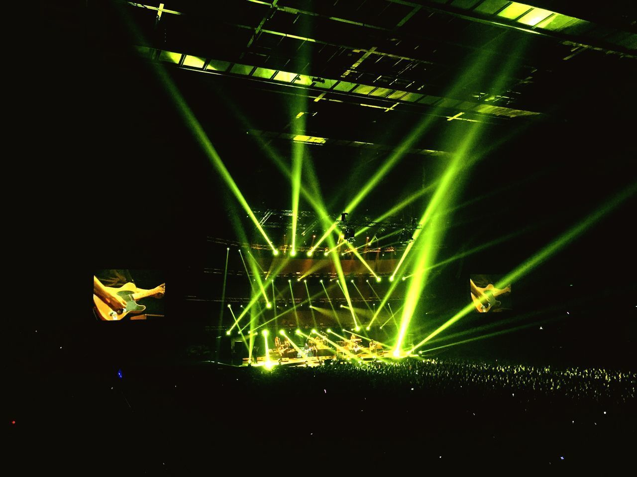 When the lights on Illuminated Arts Culture And Entertainment Green Color Light Beam Concert Life Concert