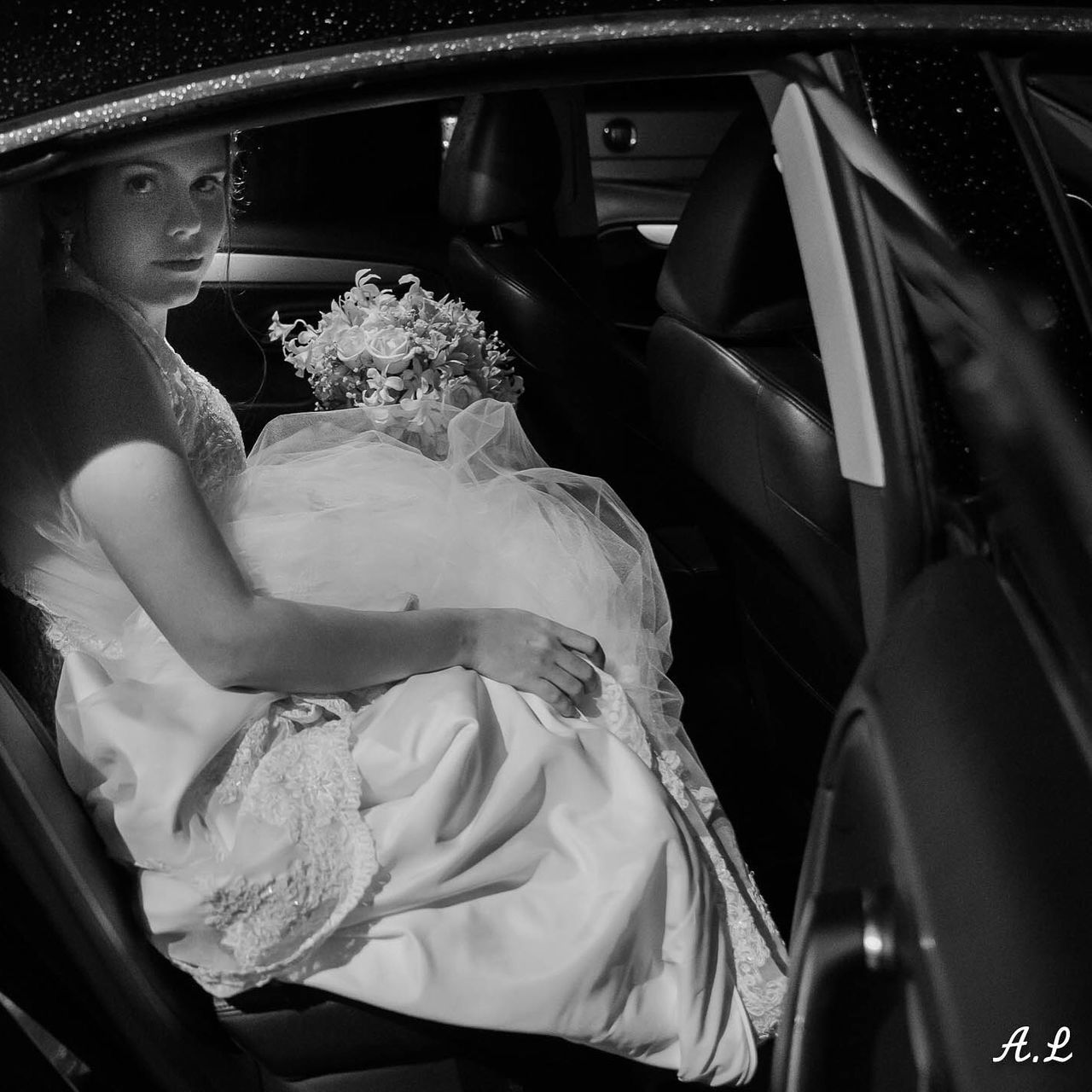 car, land vehicle, transportation, mode of transport, car interior, real people, sitting, bride, wedding dress, day, young adult, one person, outdoors, people