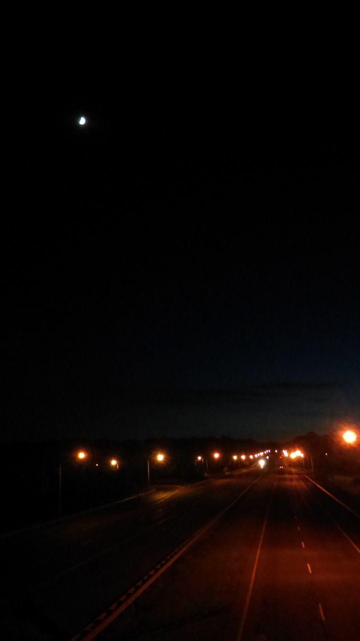 night, illuminated, transportation, moon, no people, the way forward, street light, outdoors, sky, road, clear sky, nature