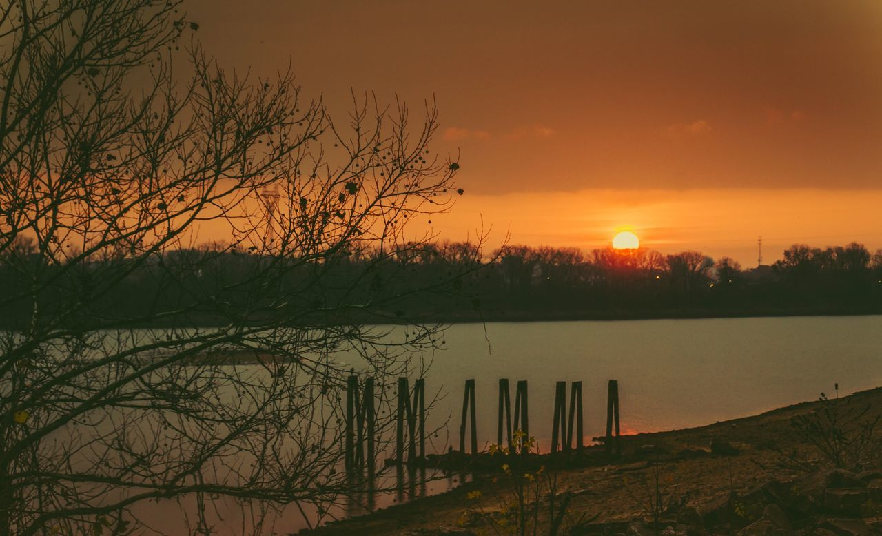 sunset, reflection, tree, orange color, lake, sun, tranquil scene, water, nature, beauty in nature, no people, scenics, tranquility, outdoors, sky, bare tree, silhouette, landscape, grass, day