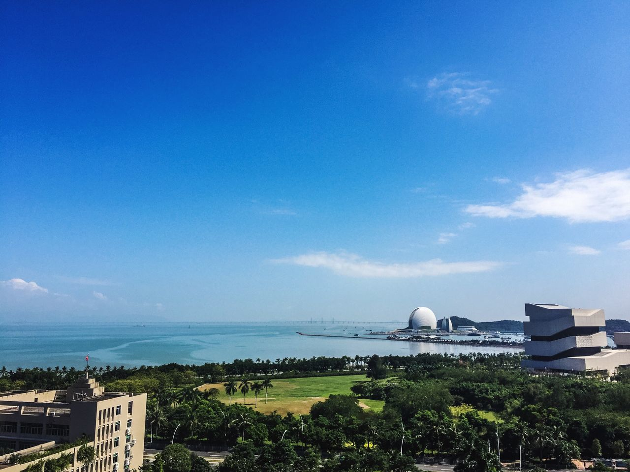 Architecture Blue Built Structure Sky Building Exterior Sea Outdoors No People Beauty In Nature Nature Water Day Scenics Tree Zhuhai Zhuhai Opera Zhuhai Museum Shell Sea Shell Opéra