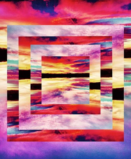 Upside Down Colourful Pattern Lake Sunset A Frame Within A Frame