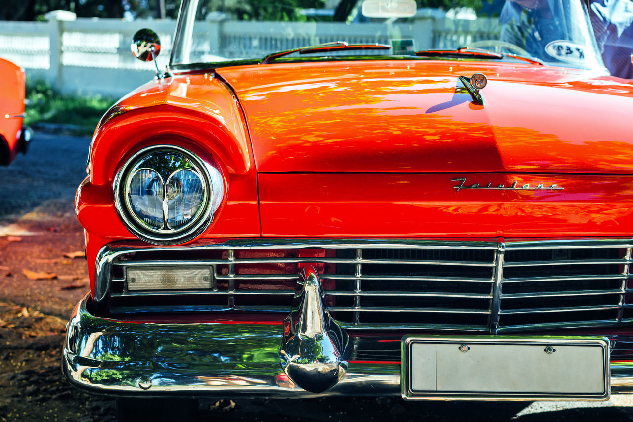 Car Classic Car Close-up Cuban Cars Land Vehicle Mode Of Transport No People Old Car Old Havana Old-fashioned Outdoors Red Transportation Travel Vintage Cars