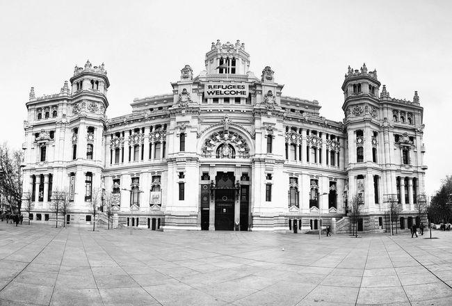 Palacio de Cibeles, Madrid Madrid SPAIN Spanien PalacioDeCibeles Photosphere España Palacio Cibeles Travel Travelphotography Europa Europe Capital Blackandwhite Bnw Schwarzweiß SW