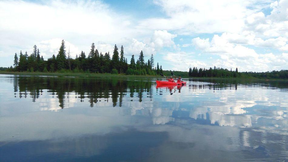 Long Goodbye Reflection Water Red Tree Lake Outdoors Nature No People Sky Scenics Landscape Reflection Lake Elkislandnationalpark Albertalife Canada