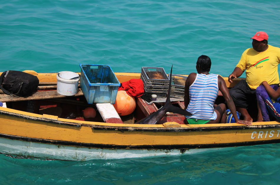 Big Fish Boat Capo Verde Day Man And Woman Men Mode Of Transport Nautical Vessel Outdoors Real People Sailing Sal Island Santa Maria Sea Summer 2015 Transportation Water