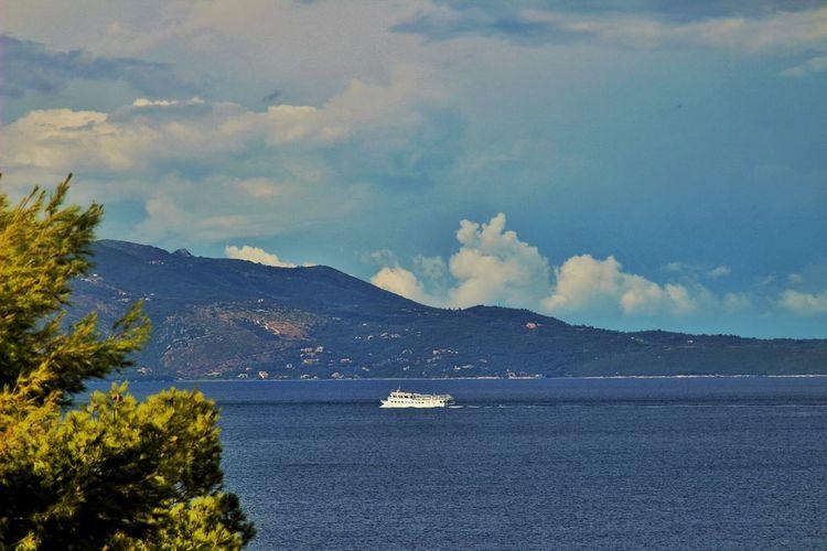 Sea Water Sunny Beach Summer Sea View Hello World Albania Sky And Clouds Beach Boat