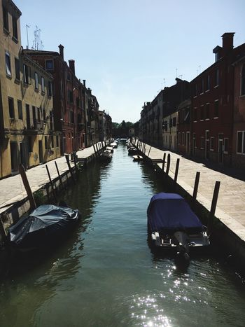 Architecture Water Built Structure Canal Building Exterior Day Nautical Vessel Outdoors Transportation Clear Sky No People Sky Gondola - Traditional Boat (null)Venice, Italy