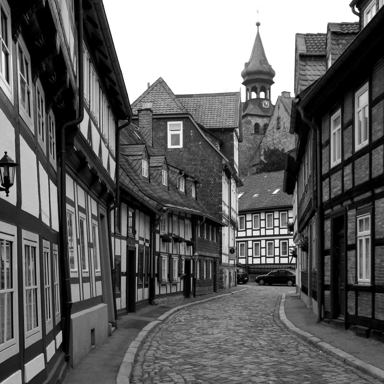 Architecture Black And White Building Exterior Germany Goslar Historical Buildings Medieval Narrow Street Town