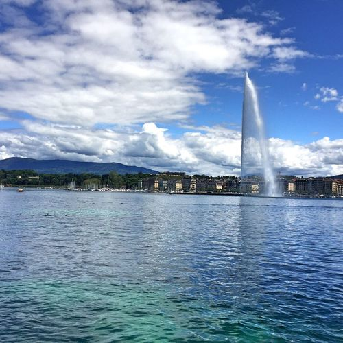 Jet d'Eau Hello World Scenics Travel Destinations Beauty In Nature Outdoor Beauty Outdoor Photography Nature Cloud - Sky Summer Tourism Outdoors Lake View Lake Geneva Water Fountain Lake Clouds And Sky Blue Sky White Clouds Blue Sky Blue Water