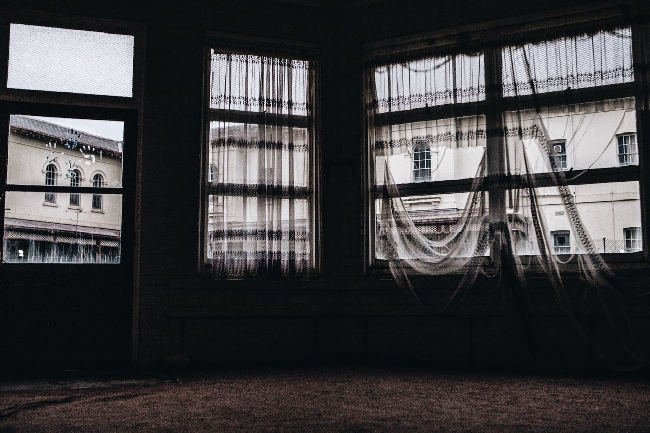 Abandoned Abandoned Buildings Abandoned Places Absence Abstract Photography Architecture Built Structure Curtain Day Documentary Documenting Space Empty Empty Places Handprints Interior Light And Dark No People Sadness SadTimes SadtimeStories Tranquility Viewpoint Window Window Light Window View
