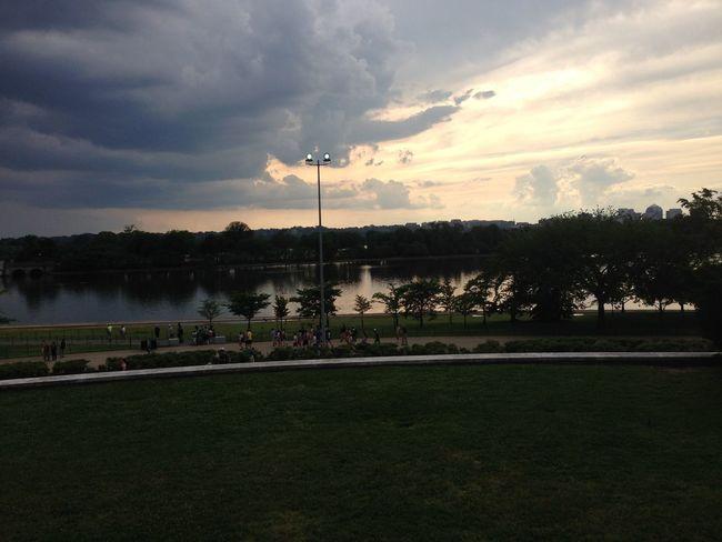 Thomas Jefferson Memorial view Thomas Jefferson Memorial View Sunset Dramatic Sky Beautiful Sky Water Treesilhouette