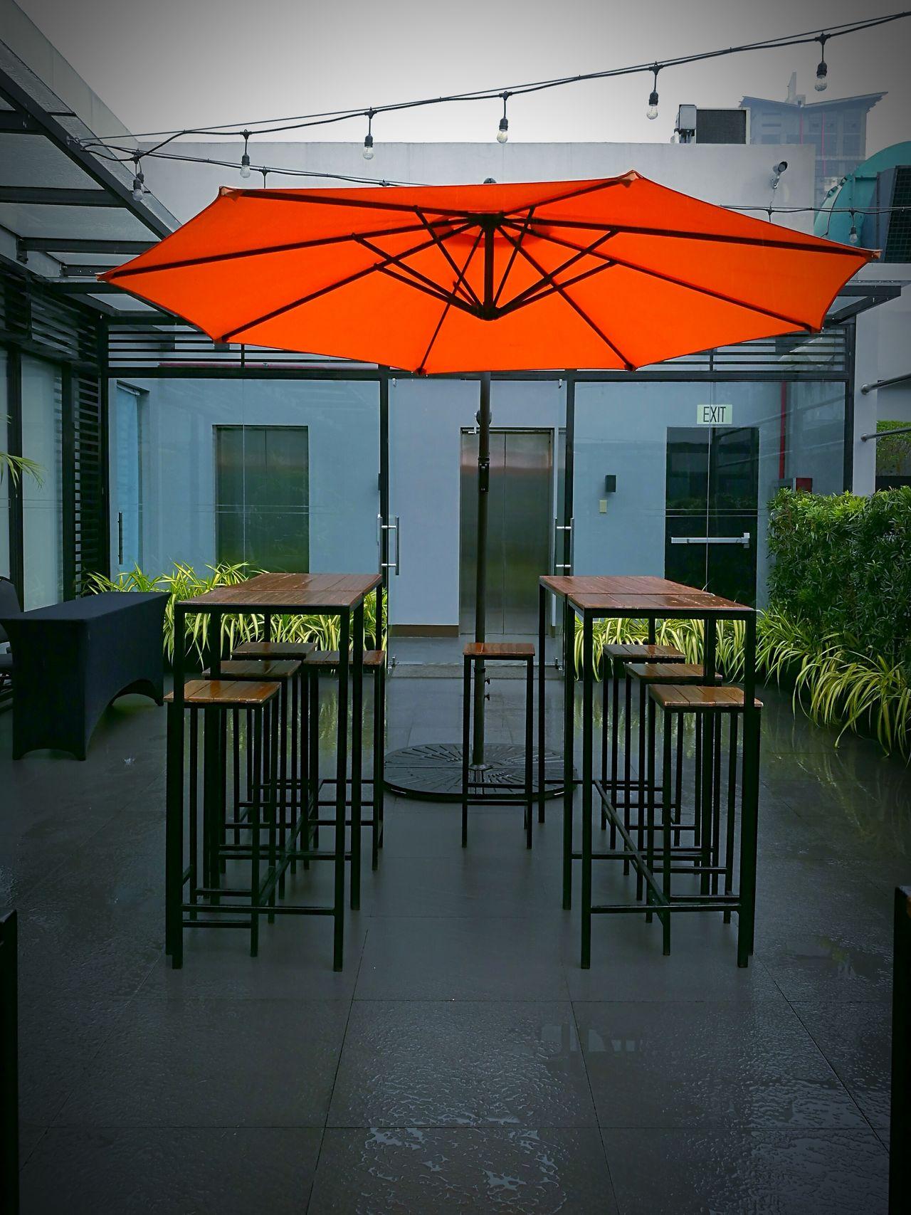 Rainy Weather Chair No People Outdoors Building Terrace P9 Huawei Orangeumbrella Umbrella