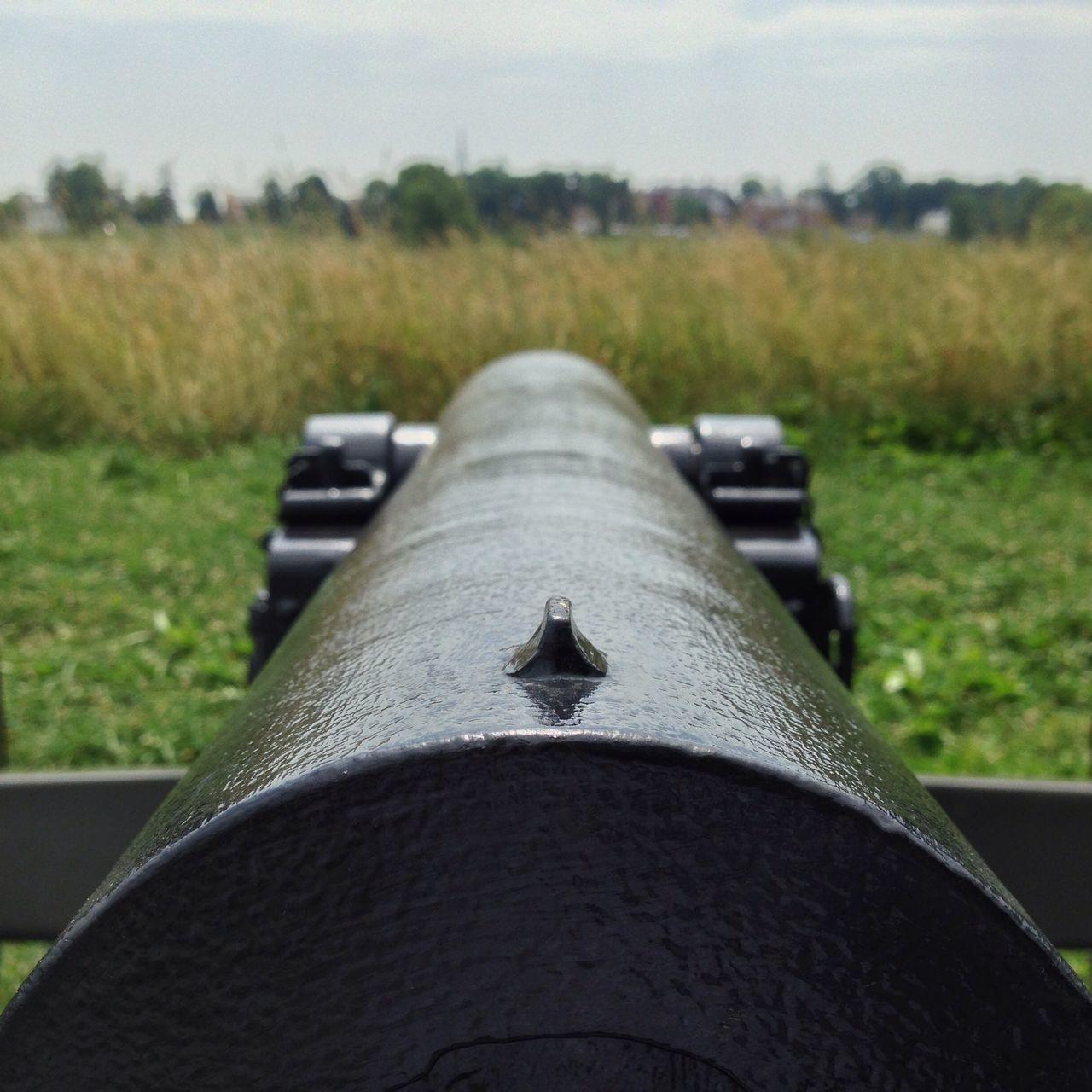 Close up of metalic barrel in nature