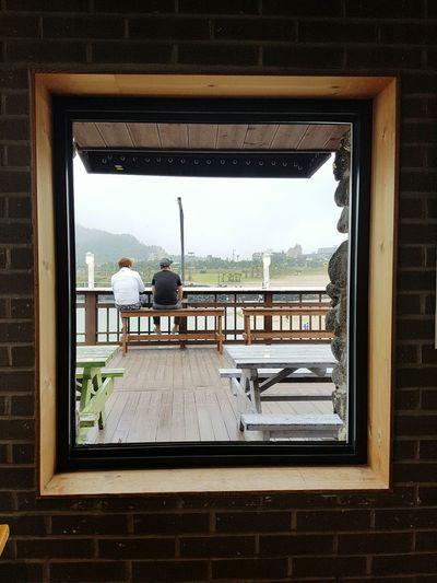 Relaxed Cafe Cafe Time Frame Window Peaple Rain Rainy Days Man Sea_collection Cafeteria Fog Beach 함덕해수욕장 카페 델문도 델문도 서우봉해변