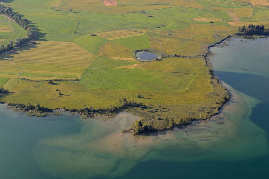 Underwater Landscape Aerial View Agriculture Beauty In Nature Day Field Green Color High Angle View Lake Landscape Nature No People Outdoors Patchwork Landscape Rural Scene Scenics Tranquil Scene Tranquility Water