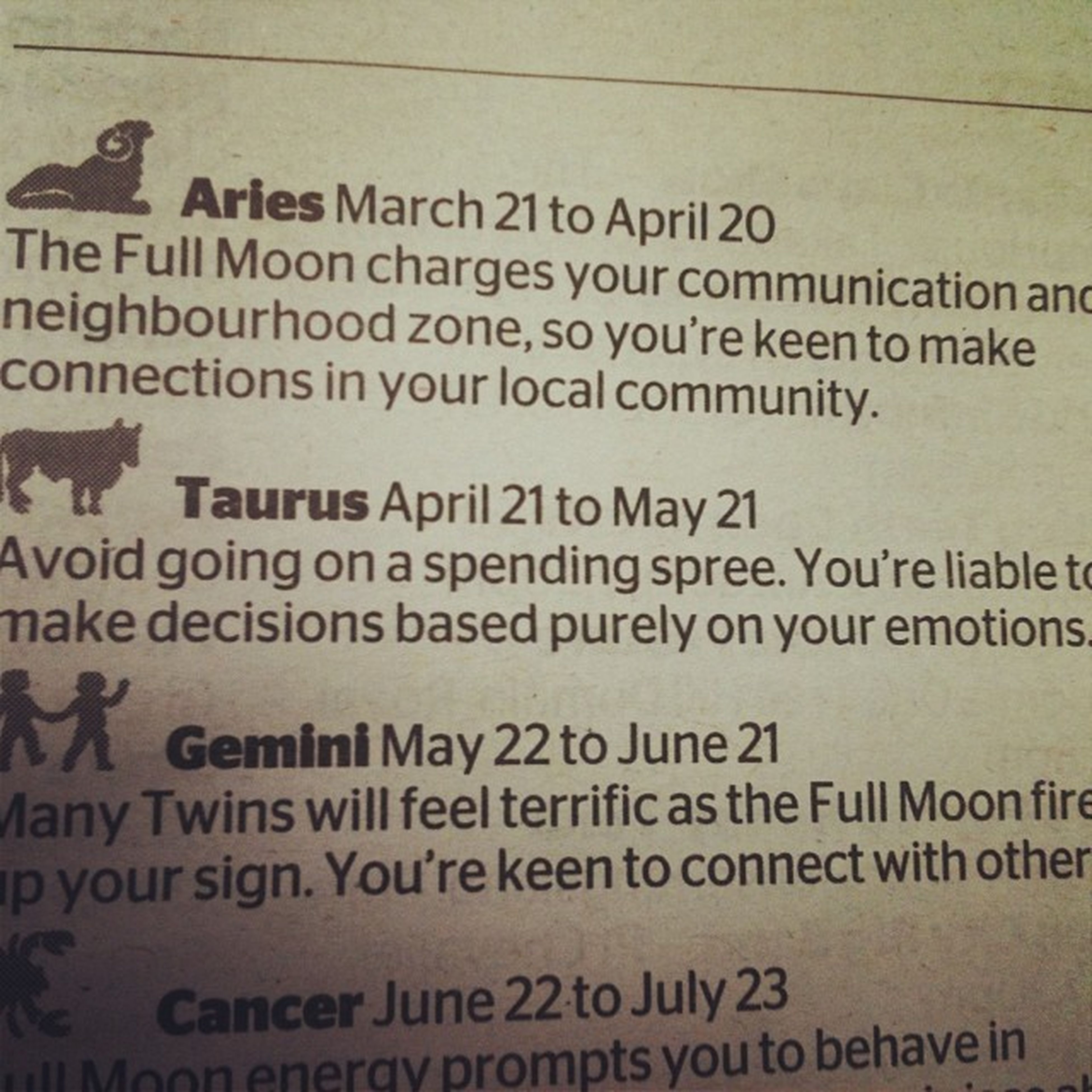 Sorry guys my horoscope said not to spend my money so no Christmas presents I'm an emotional spender it seems Taurus Emotionalspender