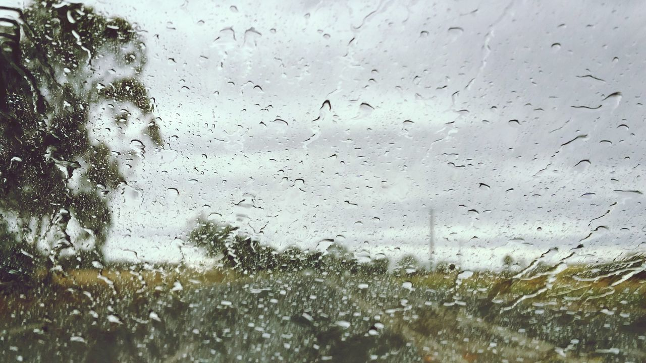 drop, window, glass - material, transparent, rain, wet, weather, rainy season, vehicle interior, raindrop, water, no people, indoors, car, land vehicle, car interior, windshield, backgrounds, close-up, transportation, looking through window, day, full frame, nature, sky, freshness