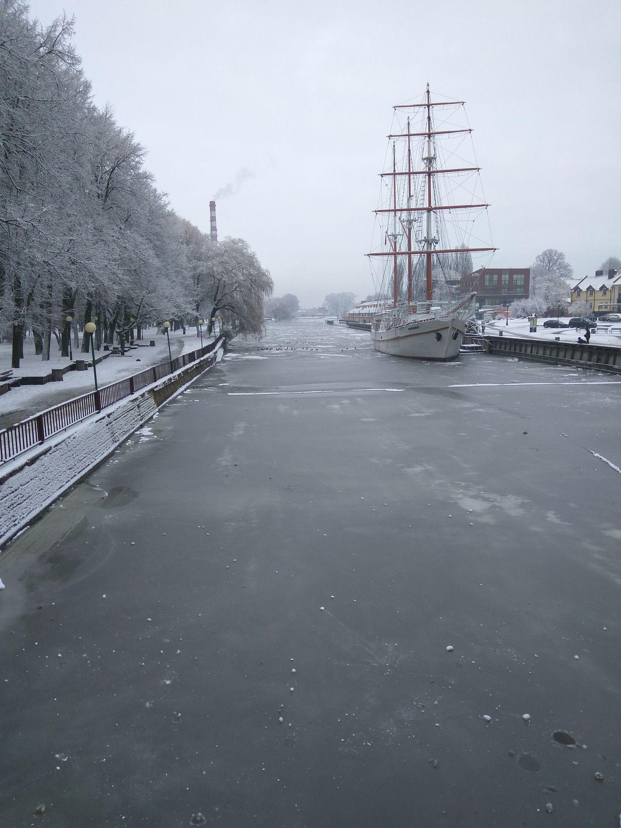Ice Klaipeda Meridianas River Sailboat Snow Water Winter