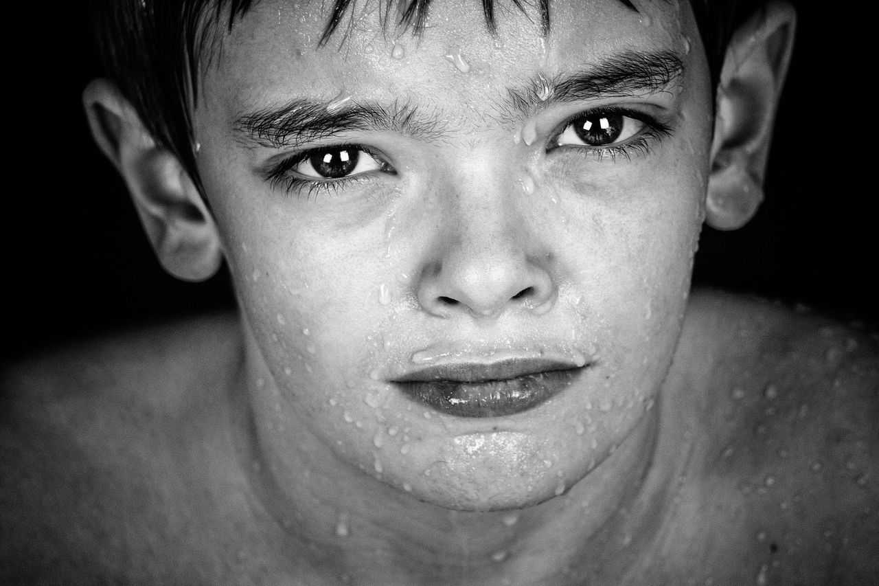 Aqua Fresh on Market 2017 Model Portrait Photography Human Face Facial Expression Studio Shot Softness Children Photography Black And White Monochrome Serenity Waterdrops