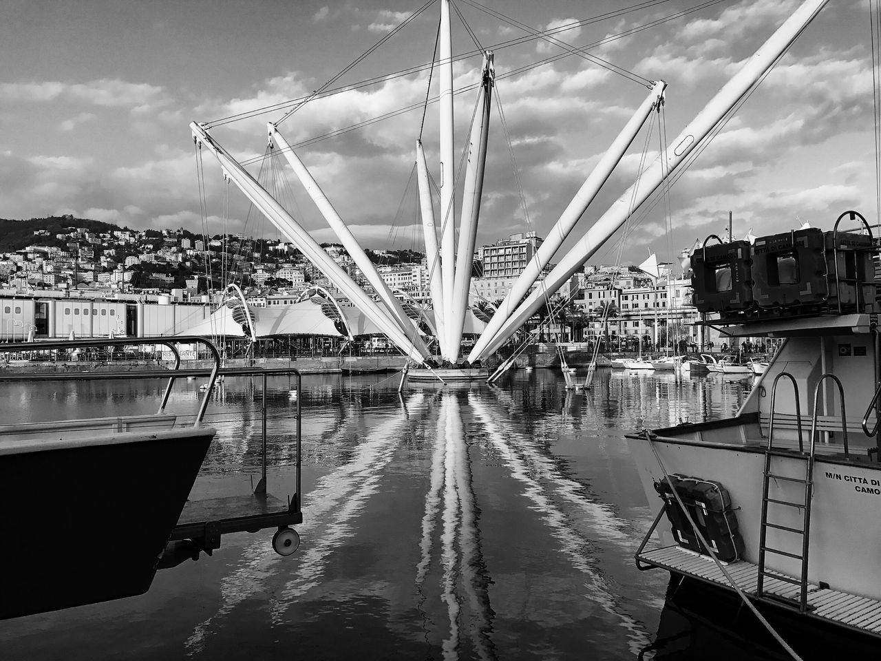 [Porto Antico] Genova ,2017® Reflection Water Sky Cloud - Sky Nautical Vessel Waterfront Building Exterior No People Black And White Street Photography Italy Genova Black&white Streetphoto_bw Bnw Blancoynegro Popular Photos Black And White Photography Instagood Eye4photography  Blackandwhite Photography Monochrome Instapic Bnw_collection Mode Of Transport