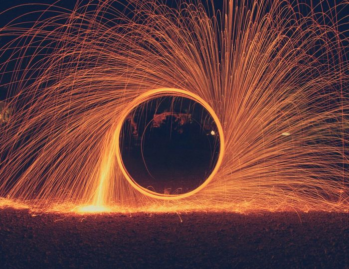 Fire wheel Camping Light Painting Photography Typography Designing Dawa