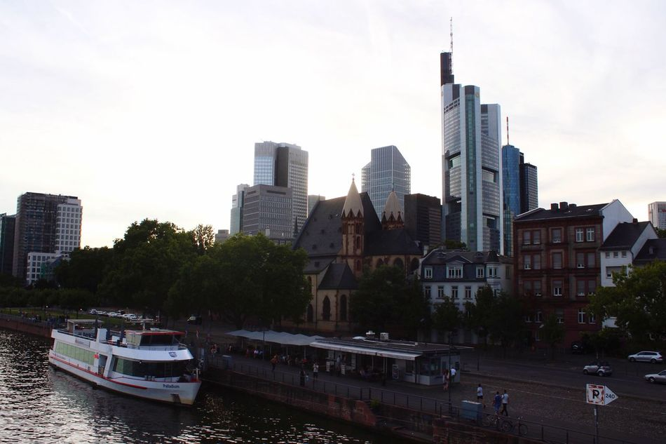 Transportation Building Exterior City Architecture Built Structure Mode Of Transport Nautical Vessel River Outdoors Day Tree Skyscraper No People Sky Cityscape Skyline Main River Frankfurt Frankfurt Am Main Skyline Frankfurt Germany Travel Photography Traveling Travel Office Building