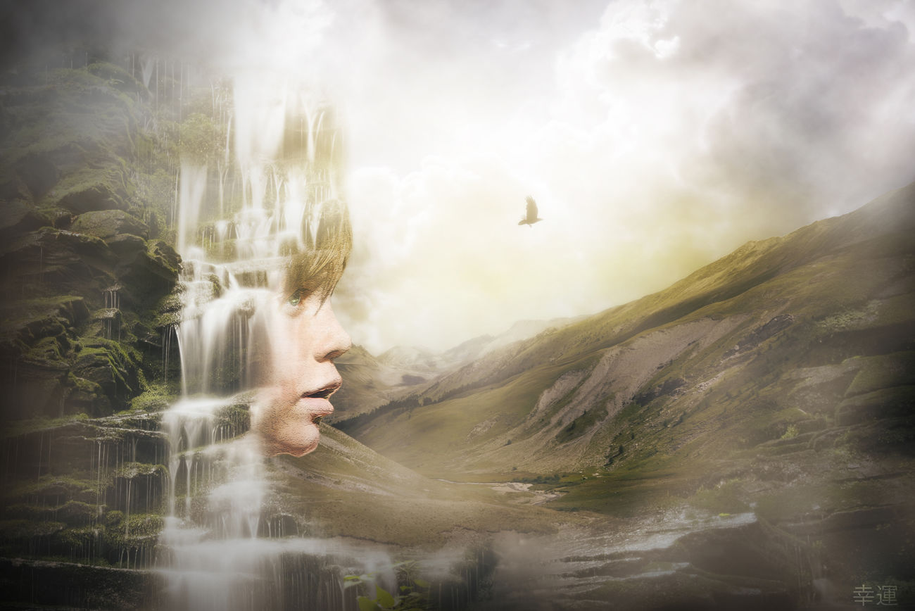 surrealism dream Photomanipulation Photoshop Surreal Surrealism Fantasy Girl Face The Innovator Mountains Waterfall Nature Melancholic Landscapes Shootermag Fog Raven Colors EyeEm Best Edits EyeEm Gallery Mood Showcase April Lucky's Memories Digital Art Sunrise Artistic Photo Photoshop Compositing