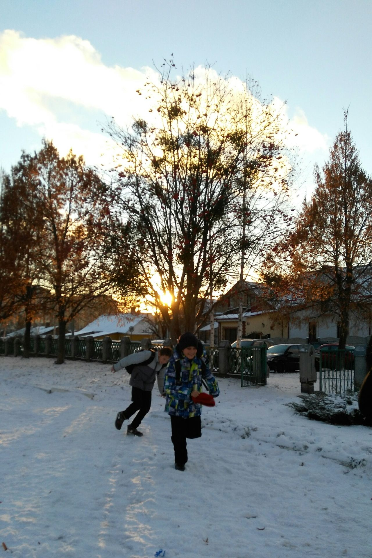 Cold Temperature Winter Tree Snow People Sky Architecture Day Beauty In Nature Outdoors Nature Scenics Close-up Lifestyles Cultures Cloud - Sky Sunny Day Winter School Children Photography Children Playing Snow ❄ Sunset December Chilling