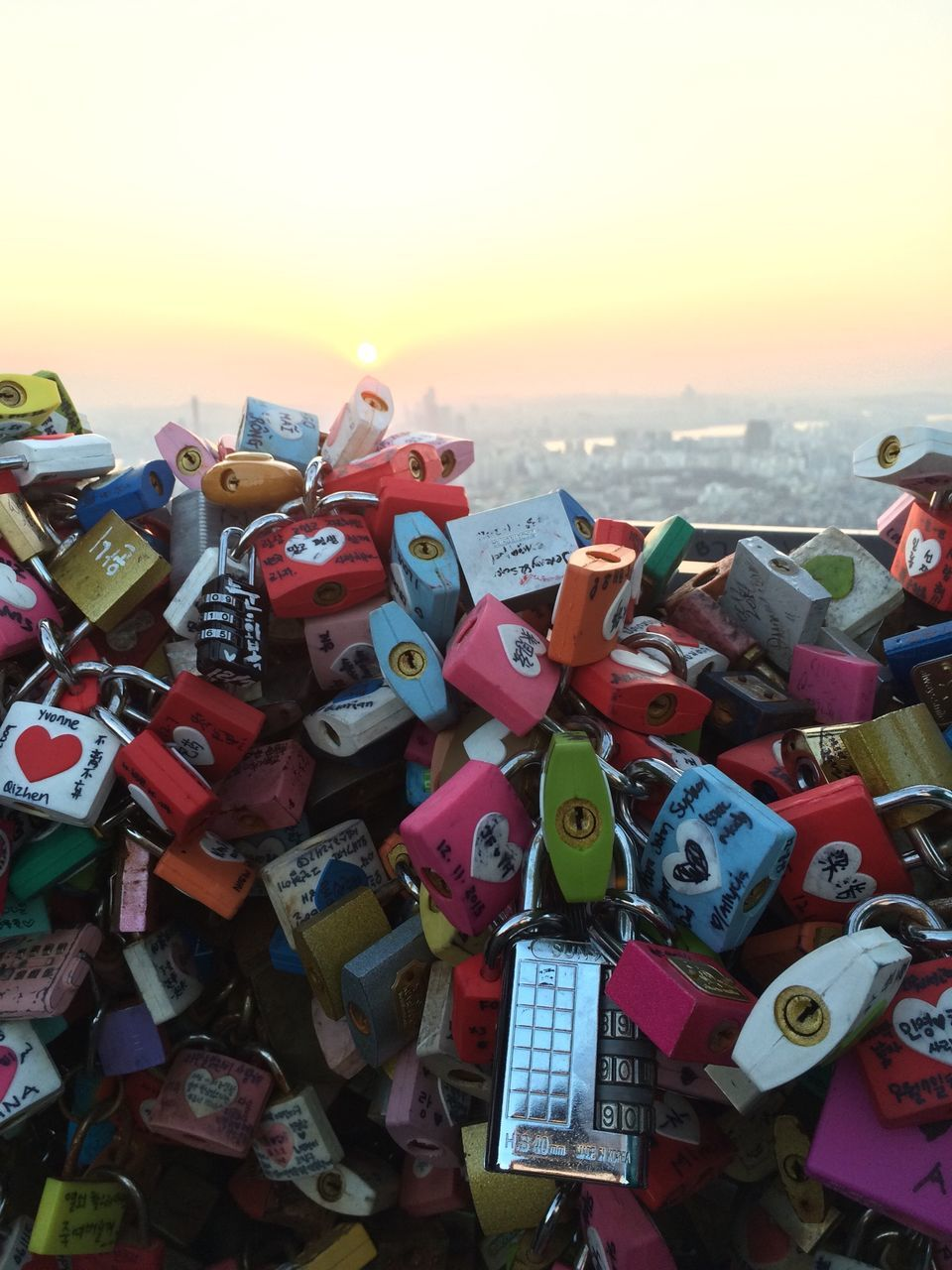 Close-Up Of Colorful Padlocks At N Seoul Tower